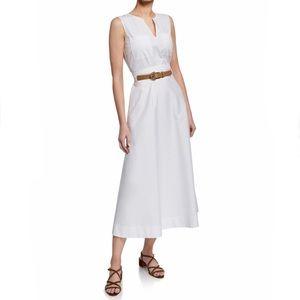 Lafayette 148 Janelle White Cotton Belt Midi Dress